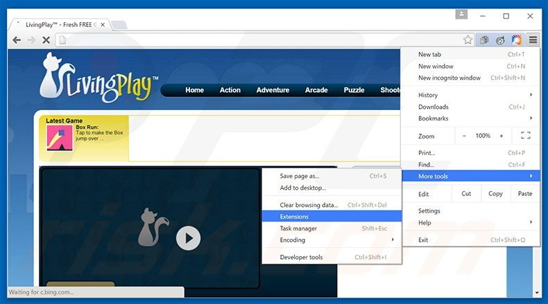Removing LivingPlay  ads from Google Chrome step 1