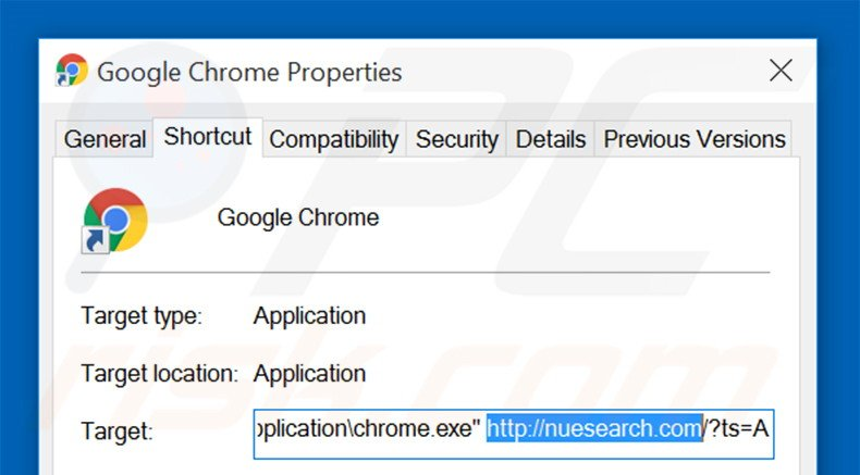 Removing nuesearch.com from Google Chrome shortcut target step 2