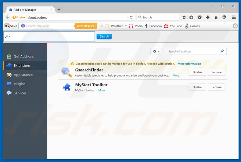 Removing nuesearch.com related Mozilla Firefox extensions