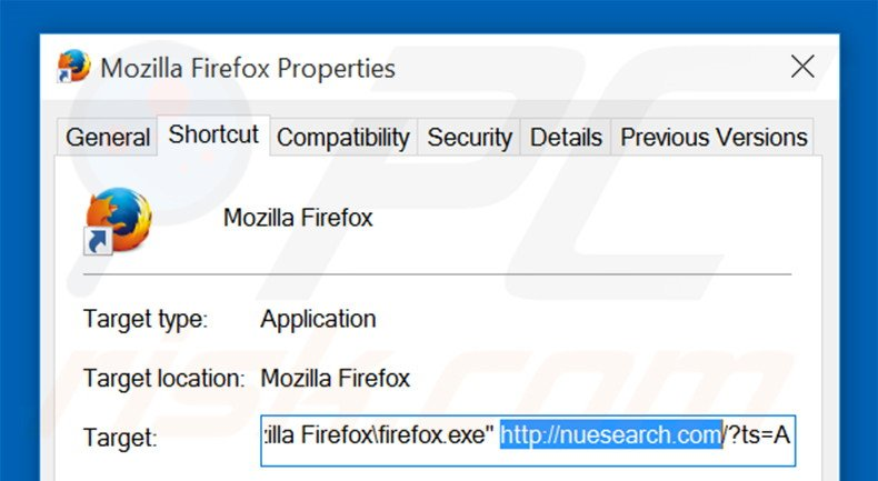 Removing nuesearch.com from Mozilla Firefox shortcut target step 2