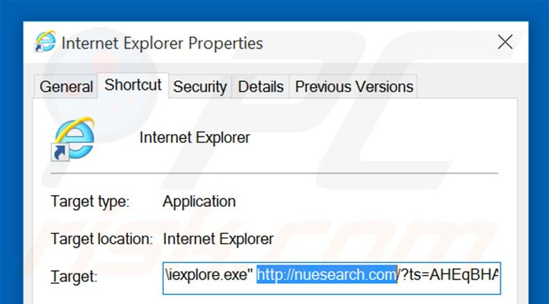 Removing nuesearch.com from Internet Explorer shortcut target step 2