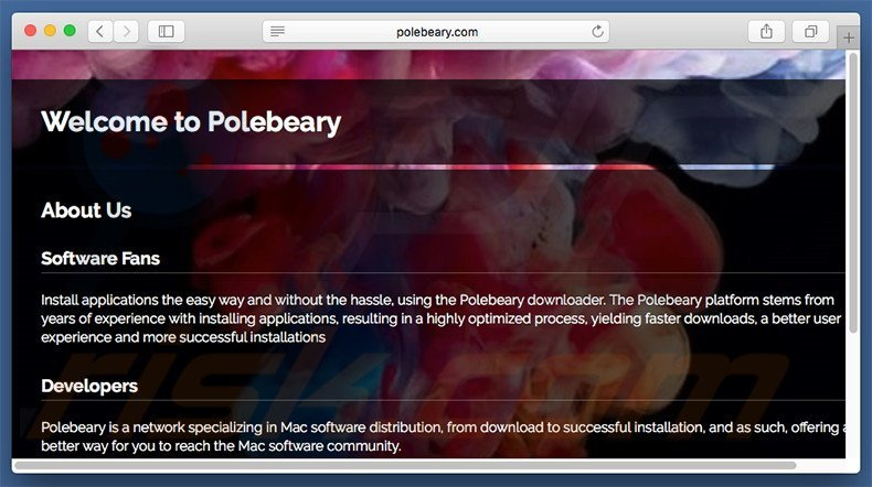 Dubious website used to promote search.polebeary.com