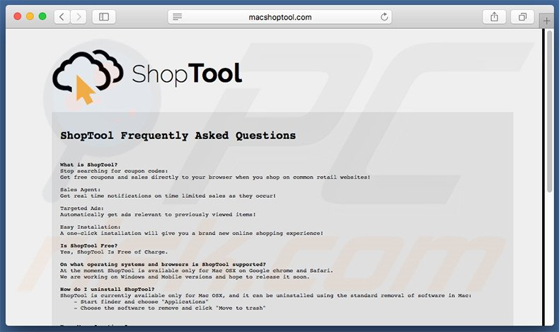 ShopTool website FAQ