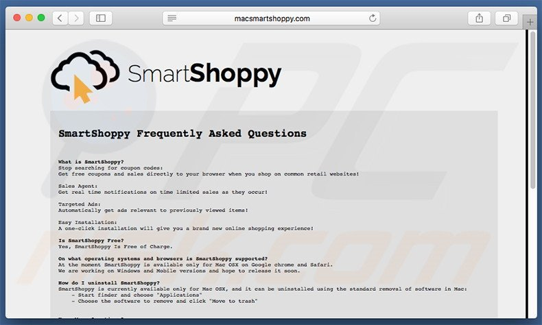SmartShoppy website FAQ