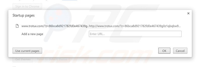 Removing trotux.com from Google Chrome homepage
