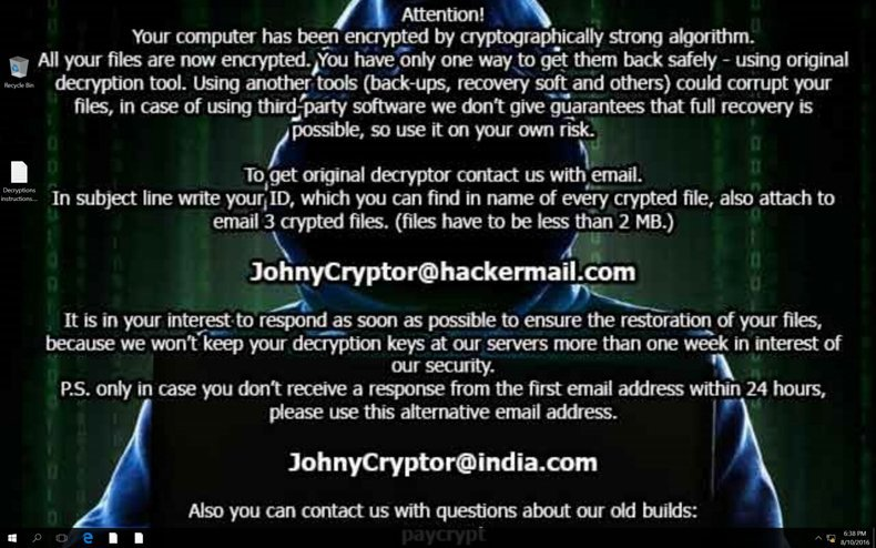 JohnyCryptor ransomware updated wallpaper