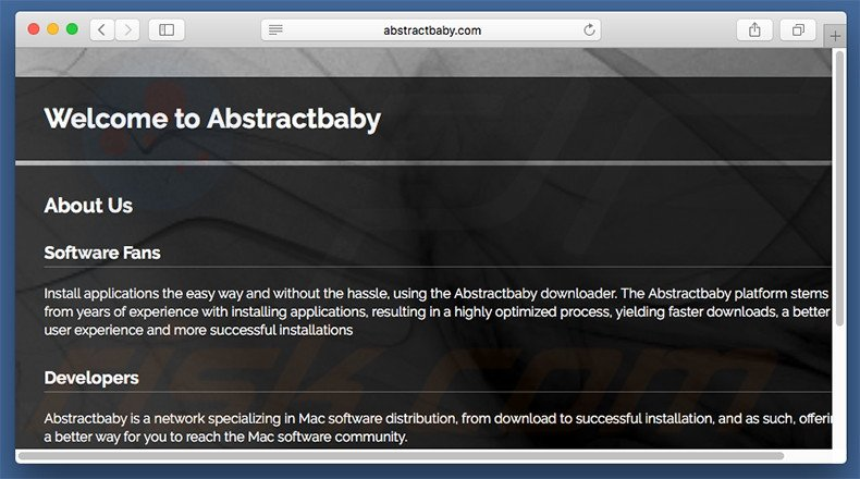 Dubious website used to promote search.abstractbaby.com