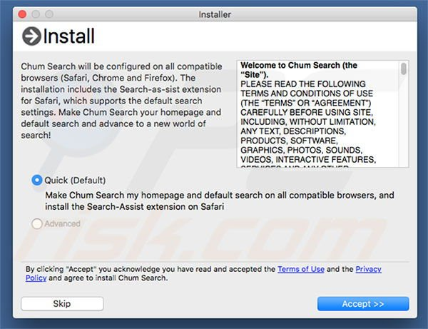 Delusive installer used to promote chumsearch.com