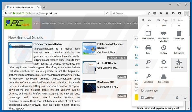 Removing CurveLayer ads from Mozilla Firefox step 1