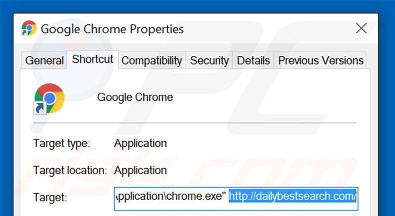 Removing dailybestsearch.com from Google Chrome shortcut target step 2