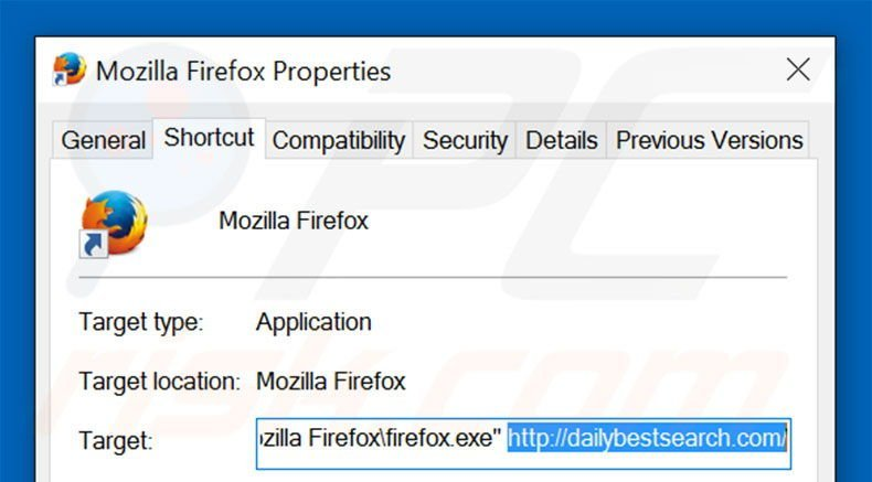 Removing dailybestsearch.com from Mozilla Firefox shortcut target step 2