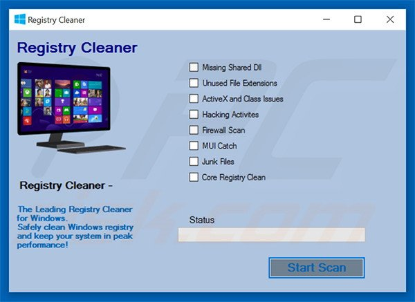 Fake anti-malware HotStar Registry Cleaner