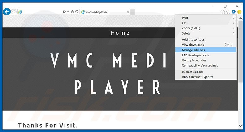 Removing VMC Media Player ads from Internet Explorer step 1