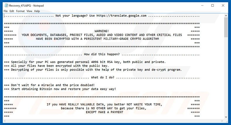 Cry ransomware text file