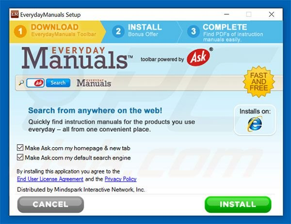 Official EverydayManuals browser hijacker installation setup