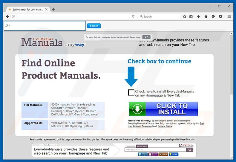 Website used to promote EverydayManuals browser hijacker