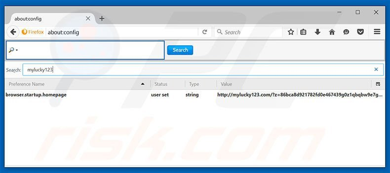 Removing mylucky123.com from Mozilla Firefox default search engine