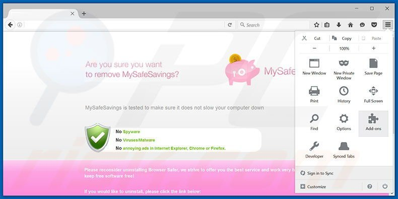 Removing MySafeSavings ads from Mozilla Firefox step 1