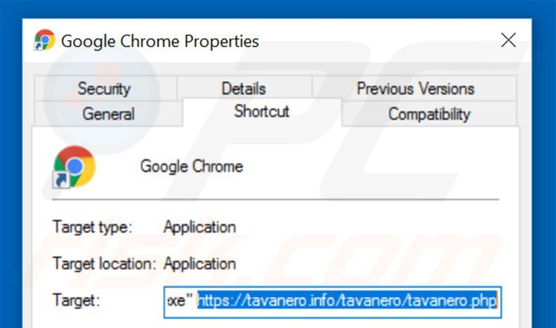 Removing tavanero.info from Google Chrome shortcut target step 2
