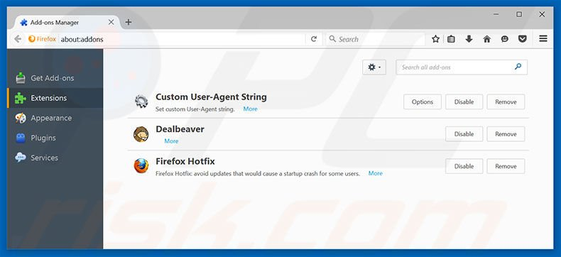 Removing tavanero.info related Mozilla Firefox extensions