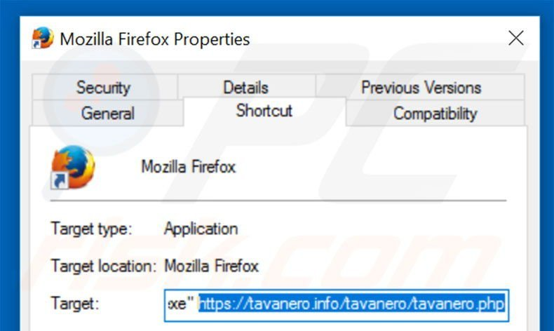 Removing tavanero.info from Mozilla Firefox shortcut target step 2