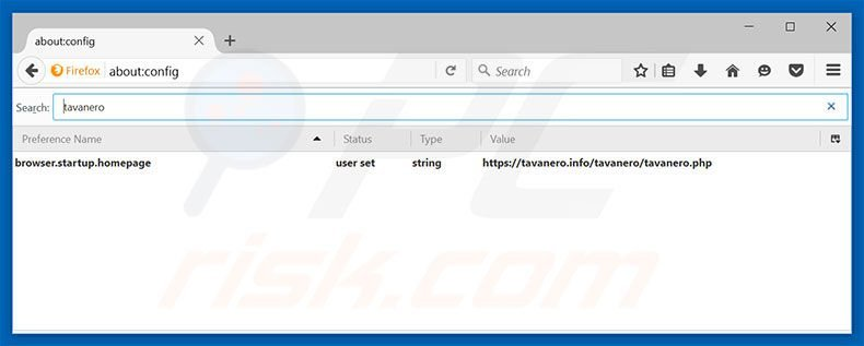 Removing tavanero.info from Mozilla Firefox default search engine