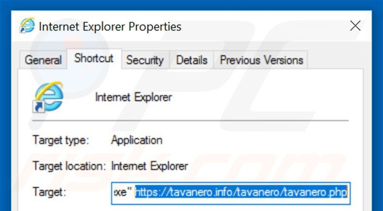 Removing tavanero.info from Internet Explorer shortcut target step 2