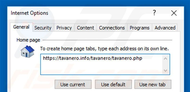 Removing tavanero.info from Internet Explorer homepage