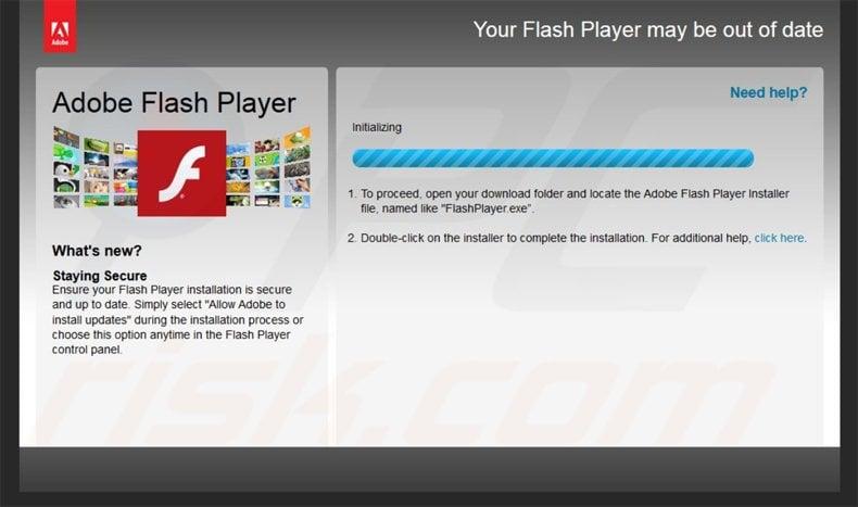 fake flash player update distributing locky ransomware