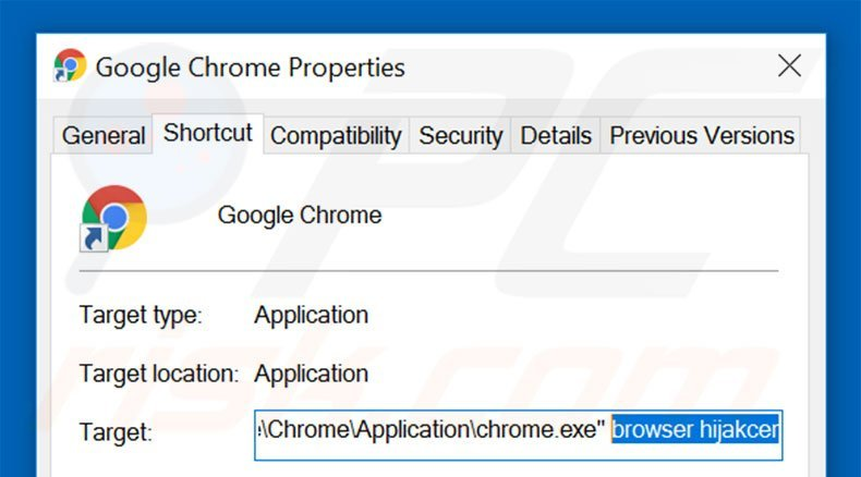 Removing go.mail.ru from Google Chrome shortcut target step 2
