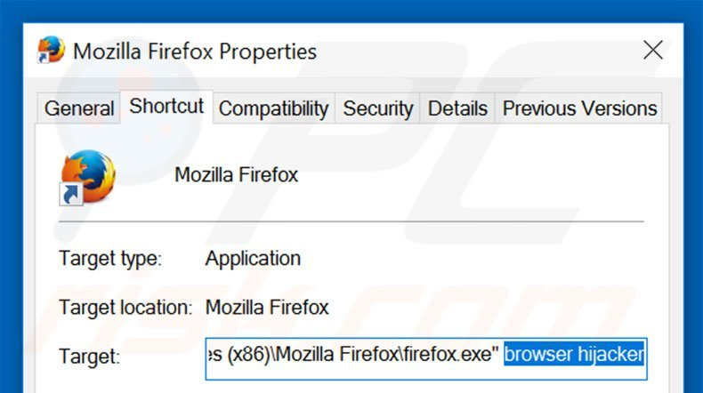 Removing go.mail.ru from Mozilla Firefox shortcut target step 2
