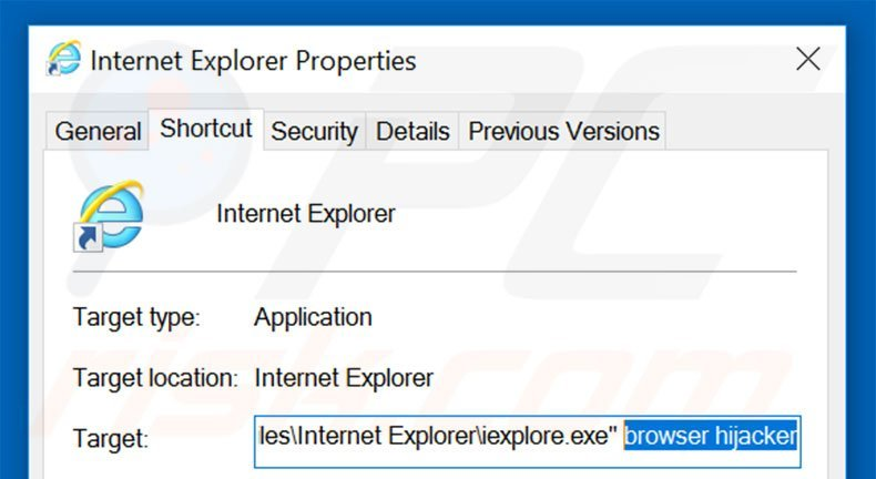 Removing go.mail.ru from Internet Explorer shortcut target step 2