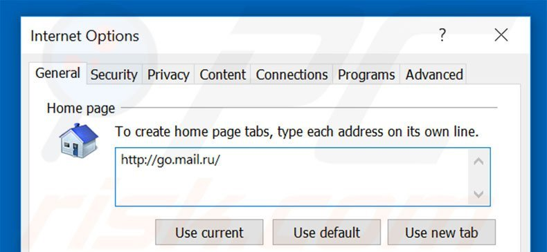 Removing go.mail.ru from Internet Explorer homepage