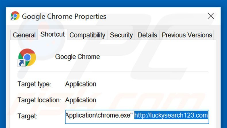 Removing luckysearch123.com from Google Chrome shortcut target step 2