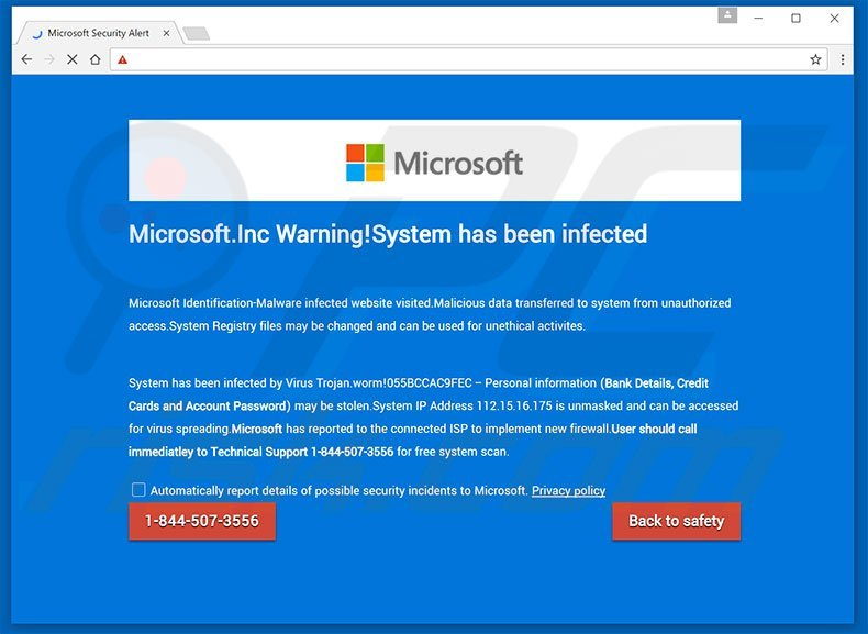 Microsoft.Inc Warning! Scam - how to remove?