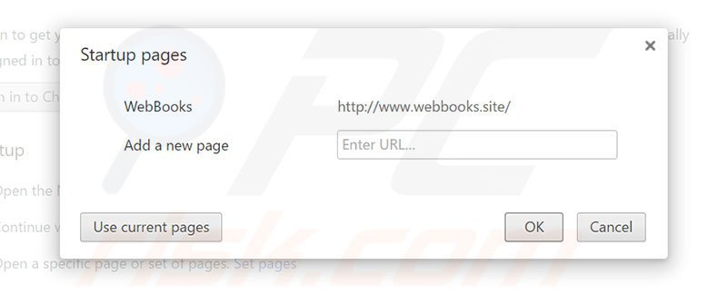 Removing webbooks.site from Google Chrome homepage