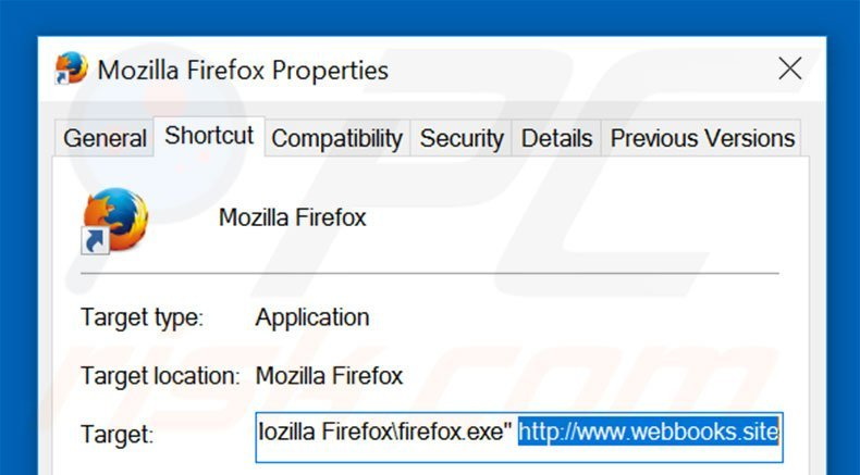 Removing webbooks.site from Mozilla Firefox shortcut target step 2