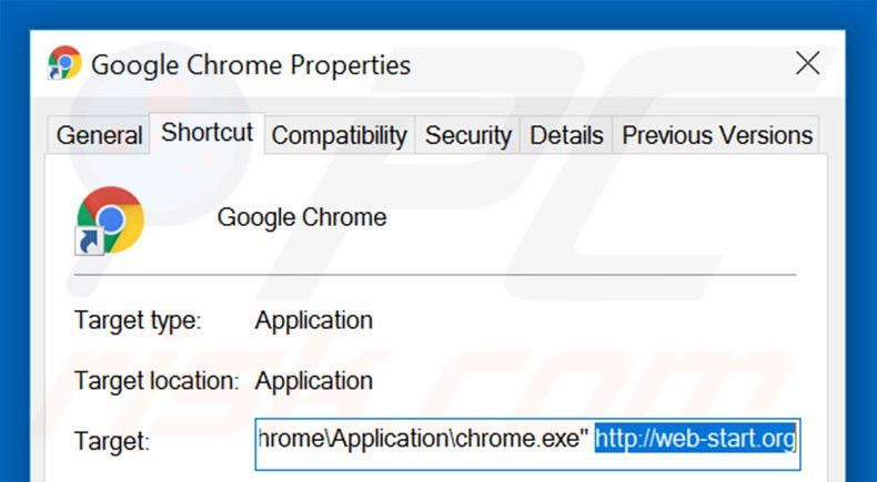 Removing web-start.org from Google Chrome shortcut target step 2