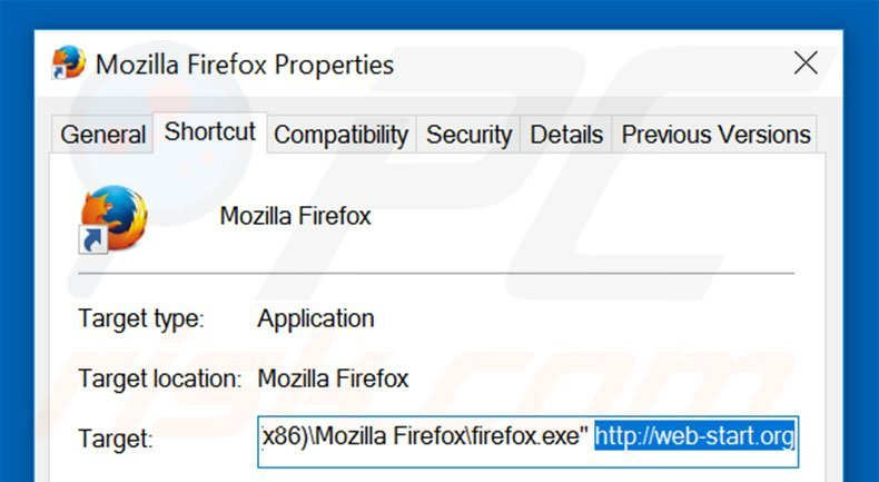 Removing web-start.org from Mozilla Firefox shortcut target step 2