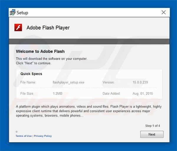 Adobe Flash Player Update scam installer