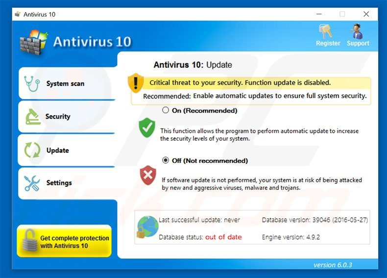 Antivirus 10 Security tab