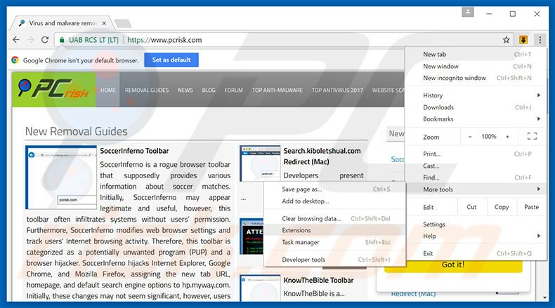 Removing ContentPush  ads from Google Chrome step 1