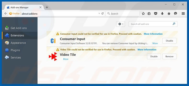 Removing ContentPush ads from Mozilla Firefox step 2