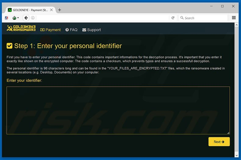 GoldenEye website (Payment step 1)