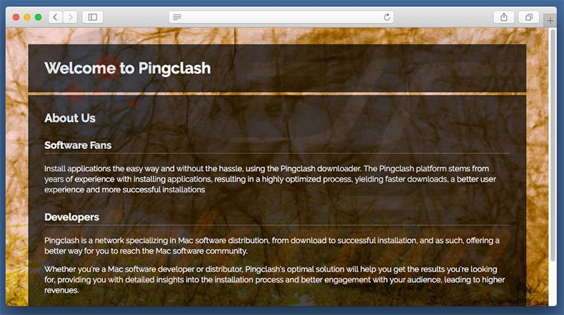 Dubious website used to promote search.pingclash.com