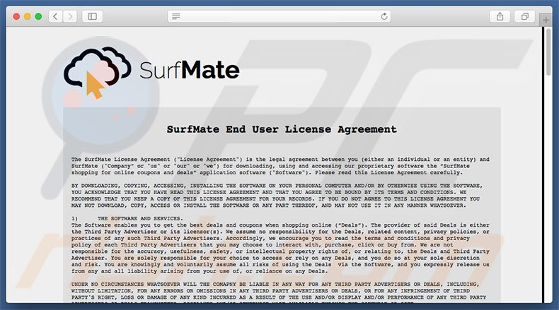 Dubious website used to promote SurfMate