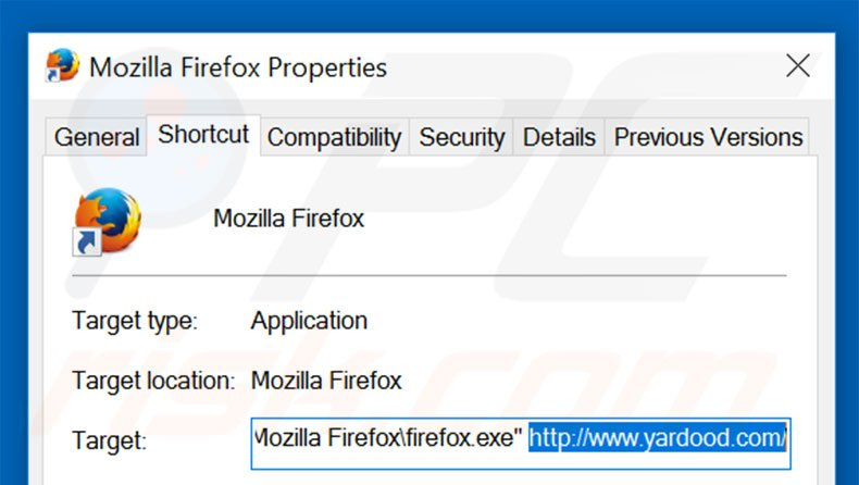 Removing yardood.com from Mozilla Firefox shortcut target step 2