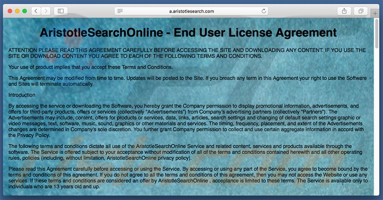 aristotlesearch.com browser hijacker on a Mac computer