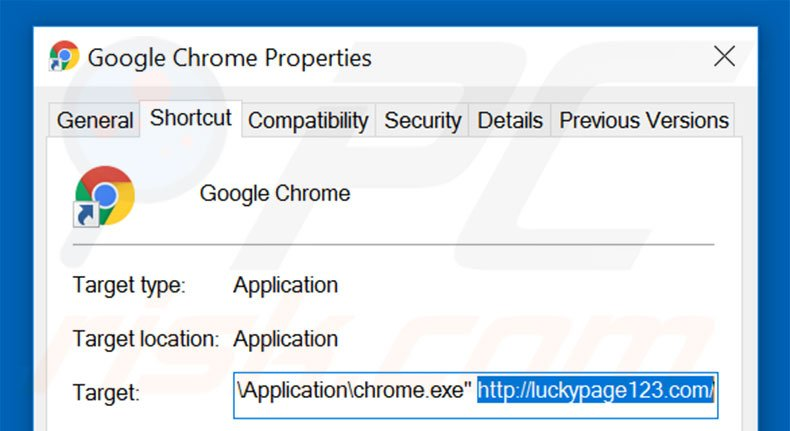 Removing luckypage123.com from Google Chrome shortcut target step 2