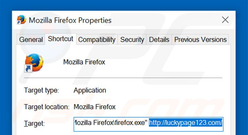 Removing luckypage123.com from Mozilla Firefox shortcut target step 2